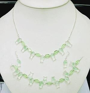 ADORABLE 925 STERLING SILVER SETS EARRING, NECKLACE & BRACELET WITH CREATED PERIDOT