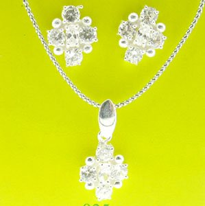 WONDERFUL 925 STERLING SILVER SETS EARRING & PENDANT WITH CREATED DIAMOND