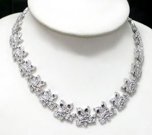 ELEGANT 925 STERLING SILVER  CHAIN WITH GENUINE BLACK SAPPHIRE & CREATED DIAMOND