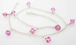 BEAUTIFUL CREATED PINK 925 SILVER ANKLET
