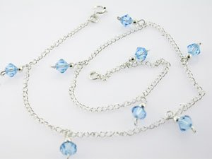 BEAUTIFUL CREATED AQUAMARINE 925 SILVER ANKLETS