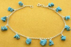 MODERN 925 STERLING SILVER ANKLET WITH CREATED TURQUOISE