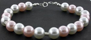 EXCELLENT CREATED PINK PEARL  925 Silver BRACELET