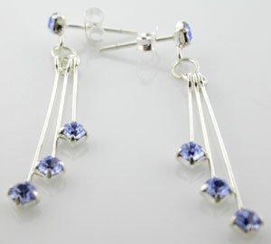 WONDERFUL CREATED BLUE SAPPHIRE STERLING 925 SILVER EARRINGS