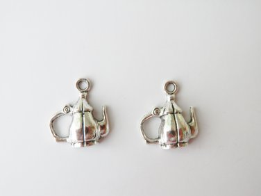 2 Pcs Antique Silver Teapot Charm - B01654