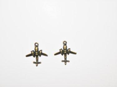 2 Pcs Antique Bronze Airplane Charms