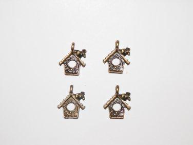 4 Pcs Bronze Birdhouse Charms