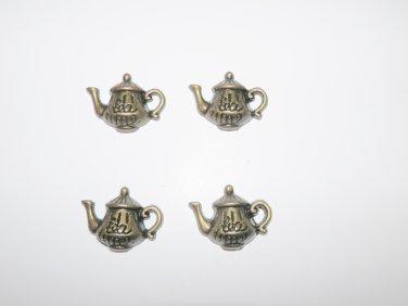 4 Pcs Antique Bronze Teapot Charms
