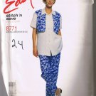 McCalls Stitch n Save 8771 - Misses Shirt with Mock Vest and Pants - Sizes 18 20 22 24 - UNCUT