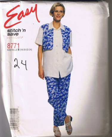 McCalls Stitch n Save 8771 - Misses Shirt with Mock Vest and Pants - Sizes 18 20 22 24 - UNCUT