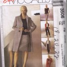 McCalls 3506 Misses Unlined Coat Jacket, Top, Pants, Skirt - Sizes 18, 20, 22 - UNCUT