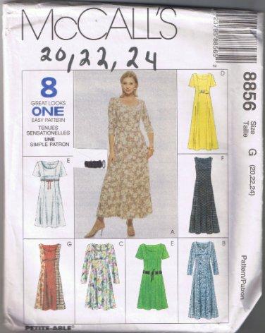 McCalls 8856 Misses Dress - Sizes 20, 22, 24 UNCUT