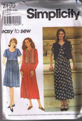 Simplicity 7199 Misses Dress and Lined Vest - Sizes L-XL  18, 20, 22, 24 -  UNCUT