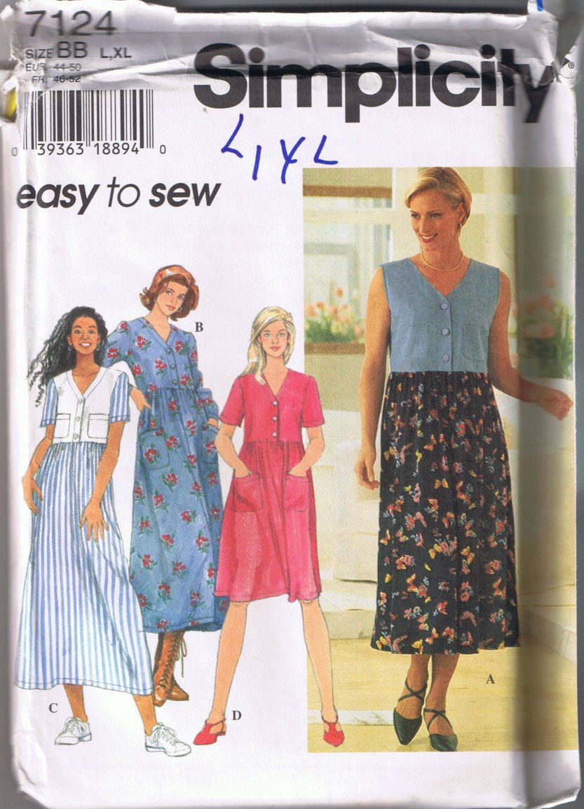 Simplicity 7124 Misses Dress - Loose Fitting - Sizes L, XL - UNCUT / FACTORY FOLDED