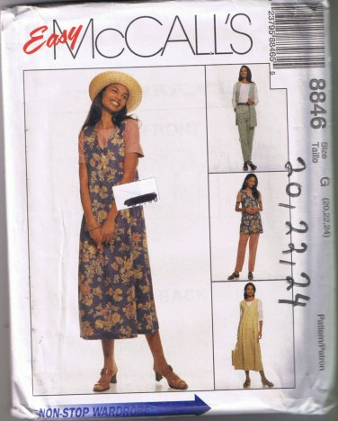 McCall's 8846 - Misses Unlined Vest, Jumper, Top, Pull-On Pants - Sizes 20, 22, 24 - UNCUT