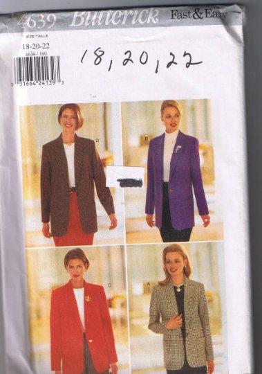 Butterick 4639 Misses Jacket - Sizes 18, 20, 22 - Uncut, Factory Folded
