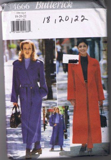 Butterick 4666 - Misses Coat, Belt, Pants - Long Coat - Sizes 18 20 22 - UNCUT Factory Folded