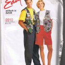 McCall's Stitch n Save 0910 Misses' & Men's Lined Vest, T-Shirt, Pull-On Pants, Shorts - XL-XXL