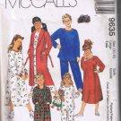 McCall's 9635 Child Unisex Robe w/ Belt, Nightshirt, Top, Pants, Booties - Sizes L 10-12  - UNCUT