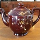 Vintage Redware Brown And Enamel Teapot JAPAN Very Nice