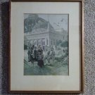 Antique Framed Matted L Marold Chromo Typogravure Signed Dated 1893