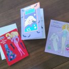 3 Vintage Mattel Barbie Paper Doll Greeting Cards Unused Halloween Granddaughter