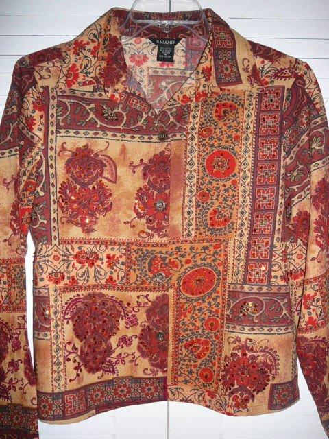 Ladies RAAKHEE Multi Color Cotton Top Medium Preowned
