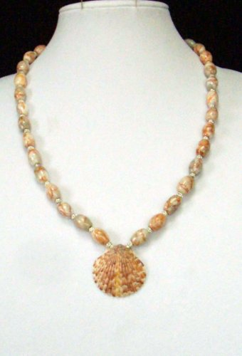 Calico Shell and Red Line Marble Necklace