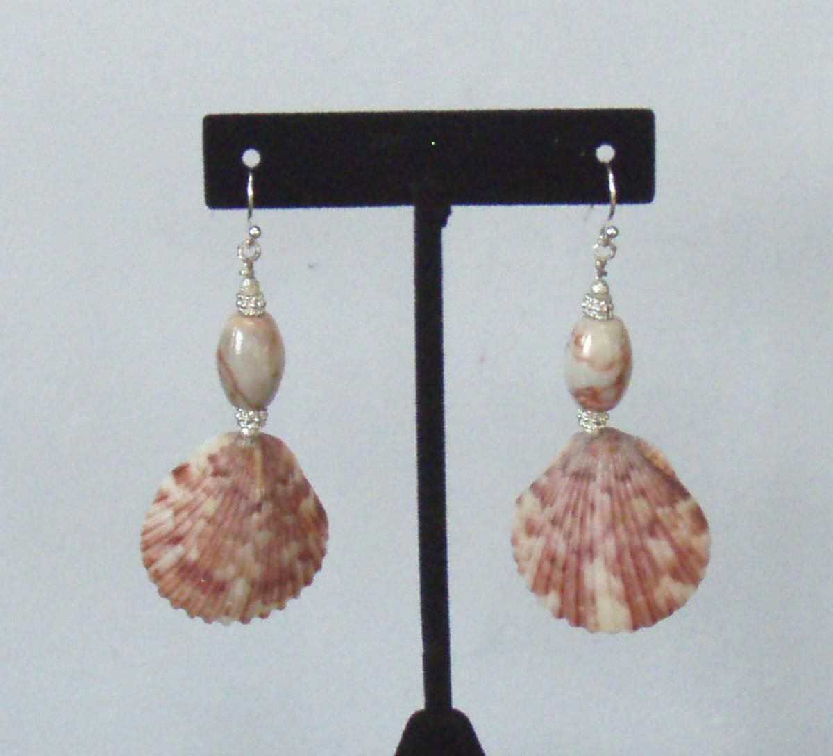 Calico Scallop Shell and Red Line Marble Earrings