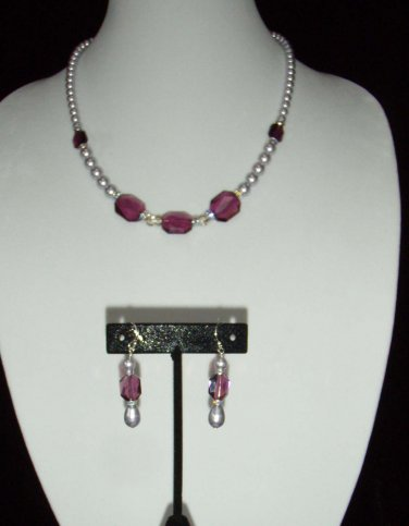 Amethyst Graphic Swarovski Crystal  and Pearl  Necklace  and earring Set