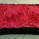 Beautiful Pink Taffeta Diaper wipe case with black pearl rose trim-New Mom must have