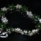 The green hand catenary female silver inlaid jade