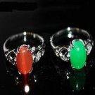 Emerald pink cat 's-eye sapphire silver ring jade ring female