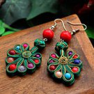The original manual cloth art dish button earrings-peacock spread its tail