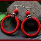 The original manual cloth art big circle earrings