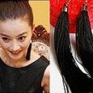 The original manual evening dress deserve long tassels elegant black earrings