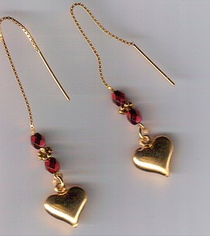 Puffed Heart Charm Threader Earrings 14k Vermeil
