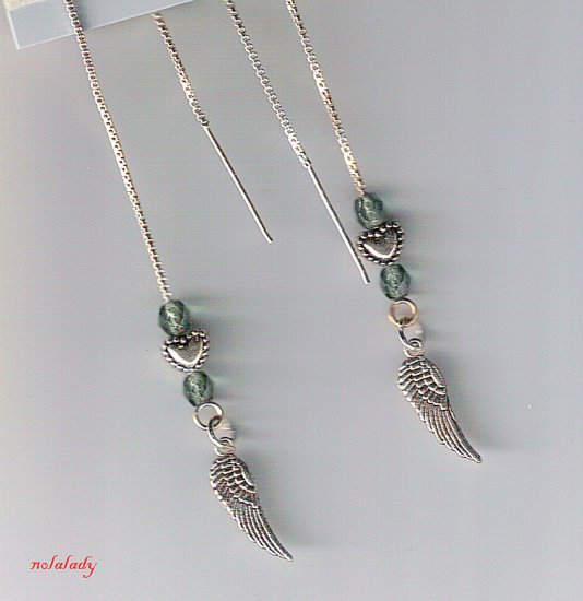 Angel Wing Charm Threader Earrings Sterling Silver
