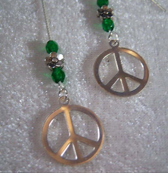 """PEACE  5"""" Ear Threads Sterling Silver"""