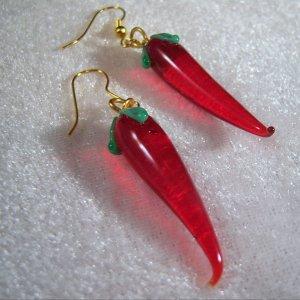 HOT Chili Pepper Glass Beads Lampwork Earrings! NEW!