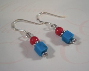 Turquoise and Red Sterling Silver Earrings