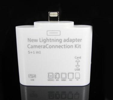 5 In1Lightning 8 Pin Camera Connection Kit Card Reader for iPad 4/5 iPad Mini