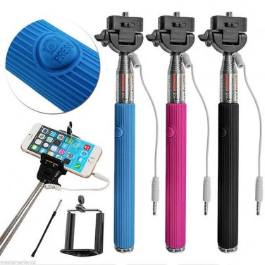 Extendable Wired Remote Shutter Handheld Selfie Stick Monopod