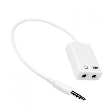 3.5mm Stereo TRRS 4-Pole Plug to 3.5mm Mic & Headset Jack Adapter