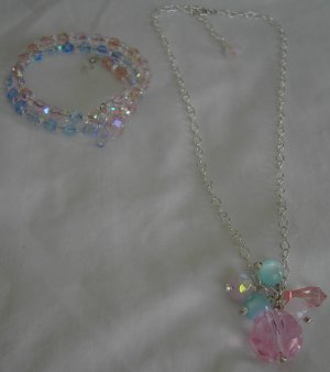 Pinky Blue Bracelet and Necklace Set