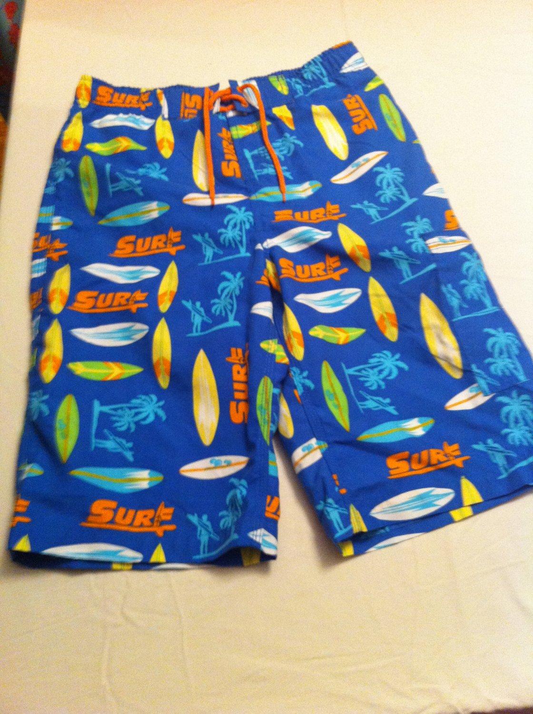 J.Khaki swim trunks, Bl/Orng/Yllw Surf Board/Palm Tree Design, Cargo Pocket Size L, New With Tags