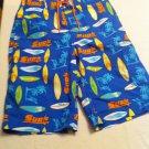 J.Khaki swim trunks, Bl/Orng/Yllw Surf Board/Palm Tree Design, Cargo Pocket Size XL, New With Tags