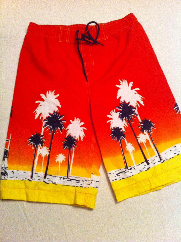 J.Khaki swim trunks, Red/Yllw/Black Palm Tree/Beach Design, Cargo Pocket Size M, New With Tags