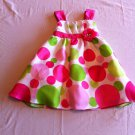 Rare Editions Size 2 Fuchsia/Pink/Green Polka Dot Dress