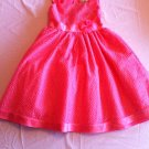 Rare Editions Size 16 Coral Flocked Dot Dress Mesh Overlay